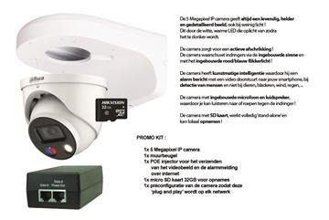 Image de KIT : 5MP IP DOME TIOC + SD KAART + L-PROFIEL + POE INJECTOR + PRECONFIGURATIE